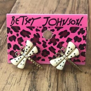 Betsey Johnson Dragonfly Earrings With Bling